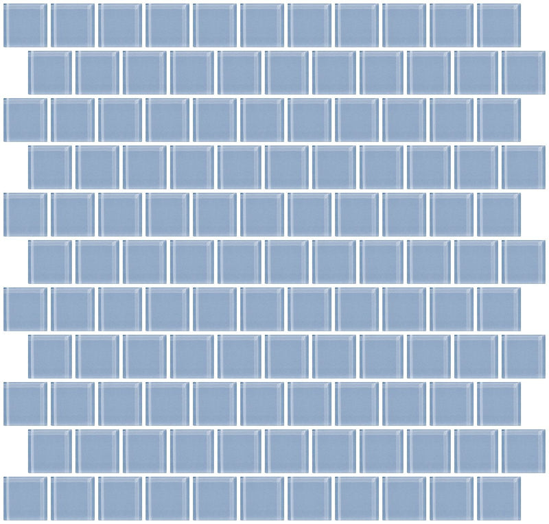 1 Inch Pale Sky Blue Glass Tile Reset In Offset Layout