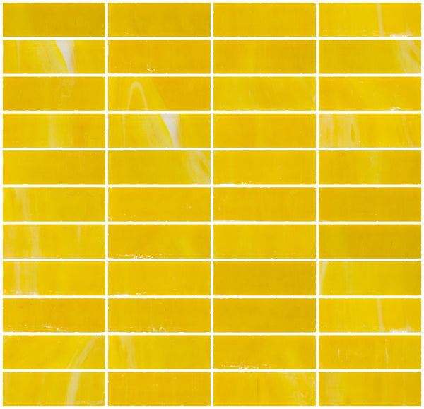 1x3 Inch Opaque Deep Sunshine Yellow Glass Subway Tile Stacked