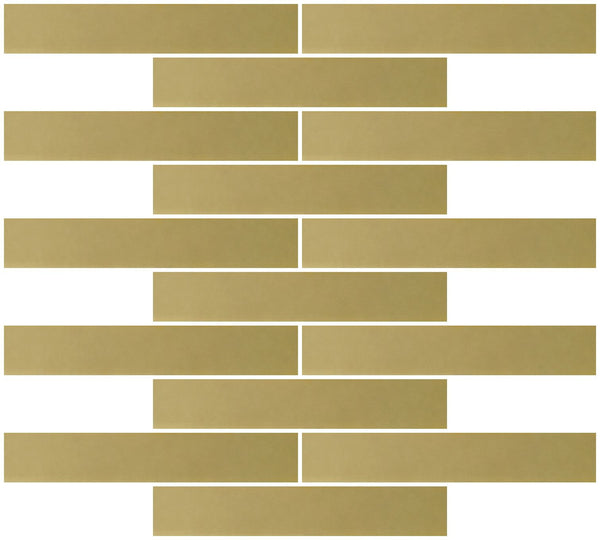 1x6 Inch Gold Mirror Glass Subway Tile Reset In Running-brick Layout