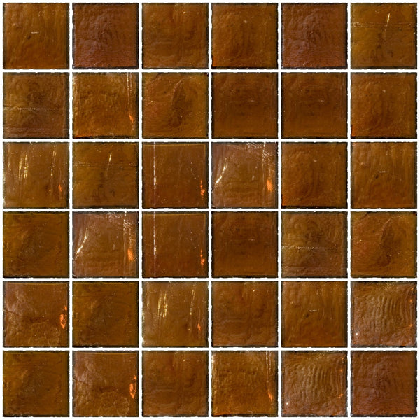 2x2 Inch Amber Brown Iridescent Glass Tile