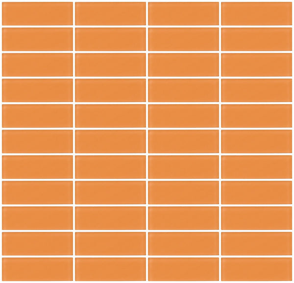 1x3 Inch Apricot Orange Frosted Glass Subway Tile Stacked
