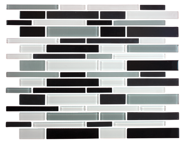Black White and Gray Linear Glass Tile Mix