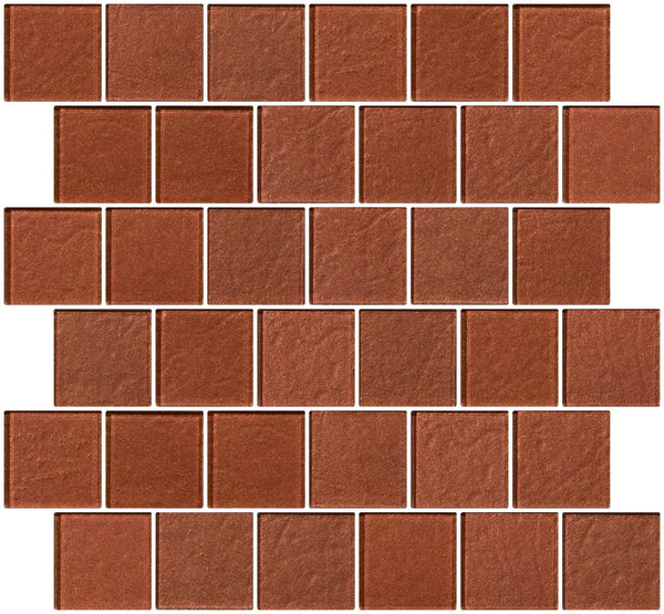 2x2 Inch Copper Brown Metallic Glass Tile Reset In Offset Layout