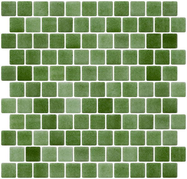 1 Inch Moss Green Dapple on White Recycled Glass Tile