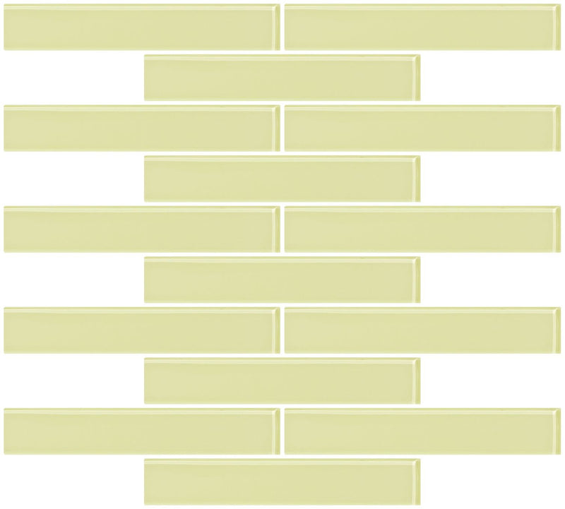 1x6 Inch Celery Green Glass Subway Tile Reset In Running-brick Layout