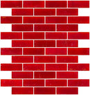 1x3 Inch Matte Red Glass Subway Tile