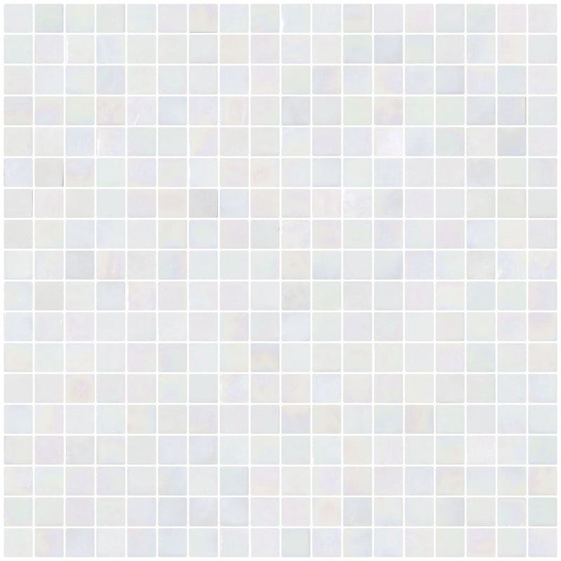 5/8 Inch White Iridescent Glass Tile