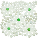 Daisy Gardens | White Flowers, Green Centers with Clear Iridescent Glass Tile Mix
