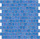 1 Inch Transparent Medium Blue Glass Tile  Reset In Offset Layout