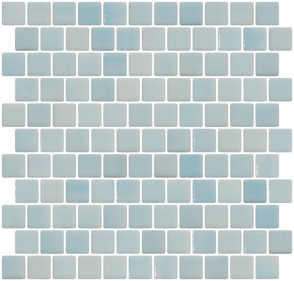 1 Inch Aqua Blue Dapple on White Recycled Glass Tile Reset In Offset Layout