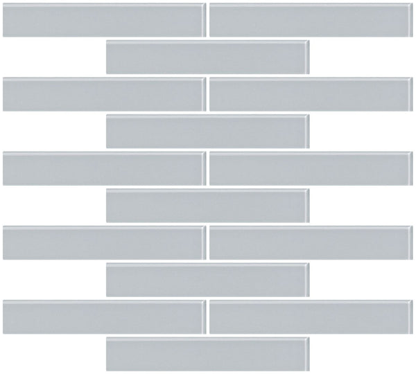1x6 Inch Gray Glass Subway Tile Reset In Running-brick Layout