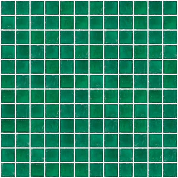 1 Inch Matte Teal Green Glass Tile