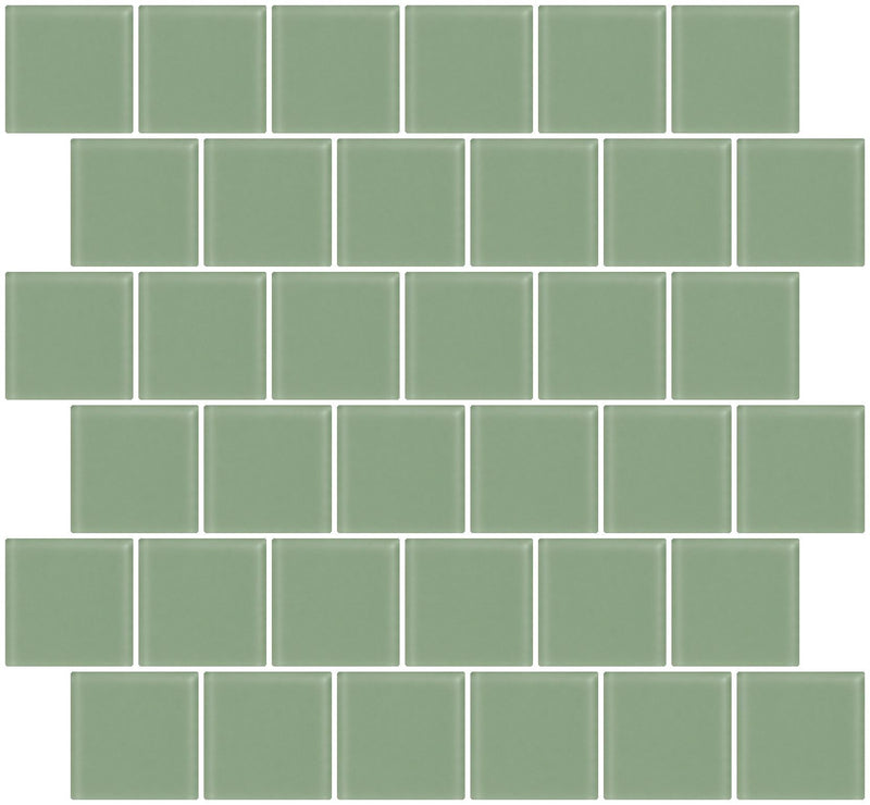 2x2 Inch Light Sage Green Frosted Glass Tile Reset In Offset Layout