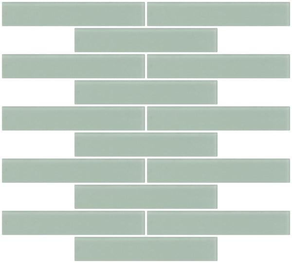1x6 Inch Light Sage Green Frosted Glass Subway Tile