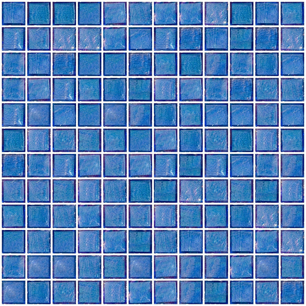 1 Inch Medium Blue Iridescent Glass Tile