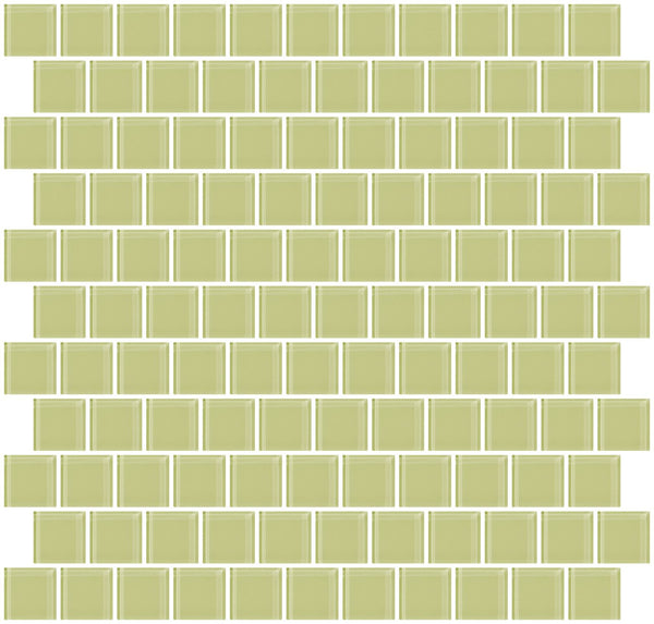 1 Inch Celery Green Glass Tile Reset In Offset Layout