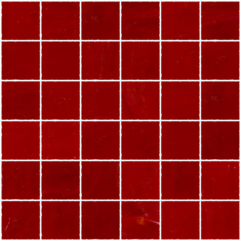 2x2 Inch Opaque Red Glass Tile