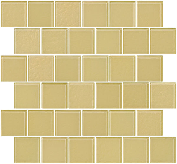 2x2 Inch Medium Gold Metallic Glass Tile Reset In Offset Layout