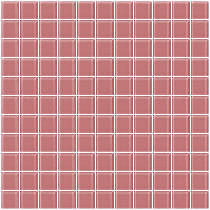 1 Inch Mauve Pink Glass Tile