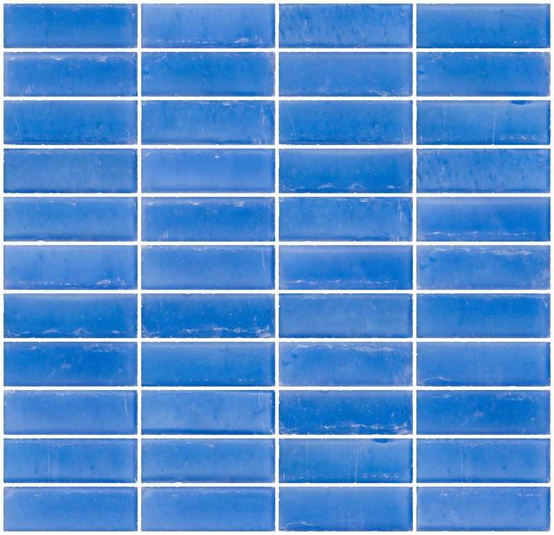 1x3 Inch Matte Medium Blue Glass Subway Tile Stacked