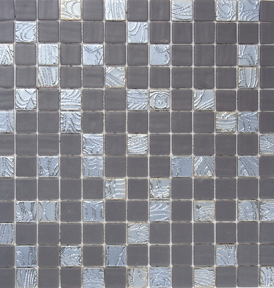 Slate Gray Textured Recycled Glass Mosaic