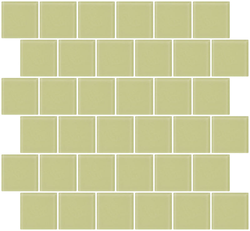 2x2 Inch Celery Green Frosted Glass Tile Reset In Offset Layout