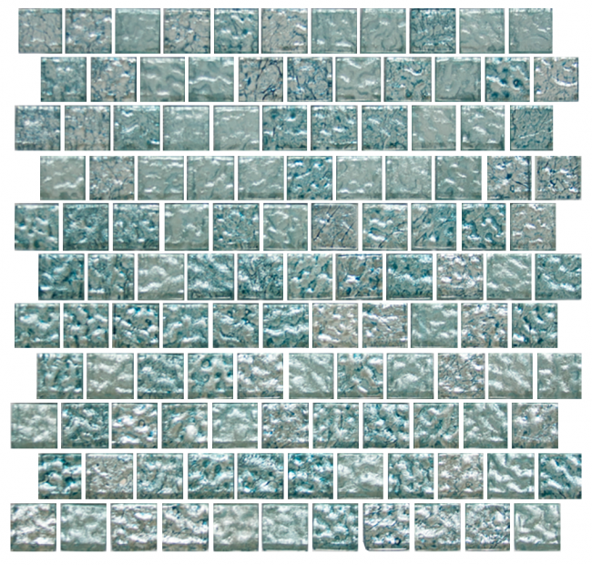 1 Inch Iced Aqua Steel Blue Metallic Glass Tile Reset In Offset Layout