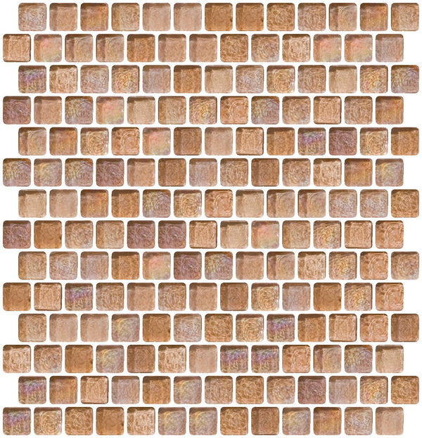 3/4 Inch Blush Pink Iridescent Glass Tile Offset