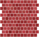 1 Inch Red Rose Metallic Glass Tile Reset In Offset Layout