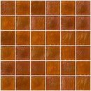 2x2 Inch Retro Orange Iridescent Glass Tile