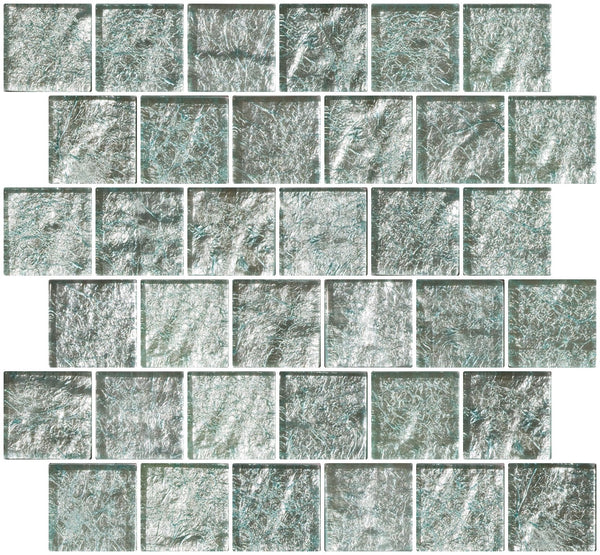 2x2 Inch Iced Aqua Steel Blue Metallic Glass Tile Reset In Offset Layout