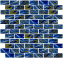1x2 Inch Cobalt Blue and Spring Green Swirl Recycled Subway Glass Tile RB