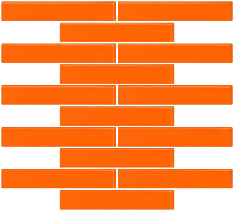 1x6 Inch Bright Orange Glass Subway Tile Reset In Running-brick Layout