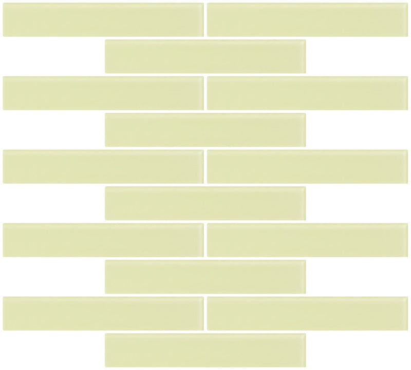 1x6 Inch Celery Green Frosted Glass Subway Tile Running-brick