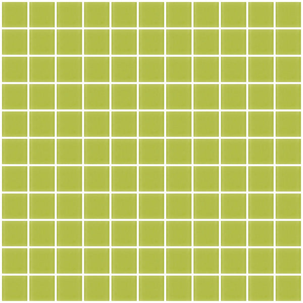 1 Inch Lime Green Frosted Glass Tile
