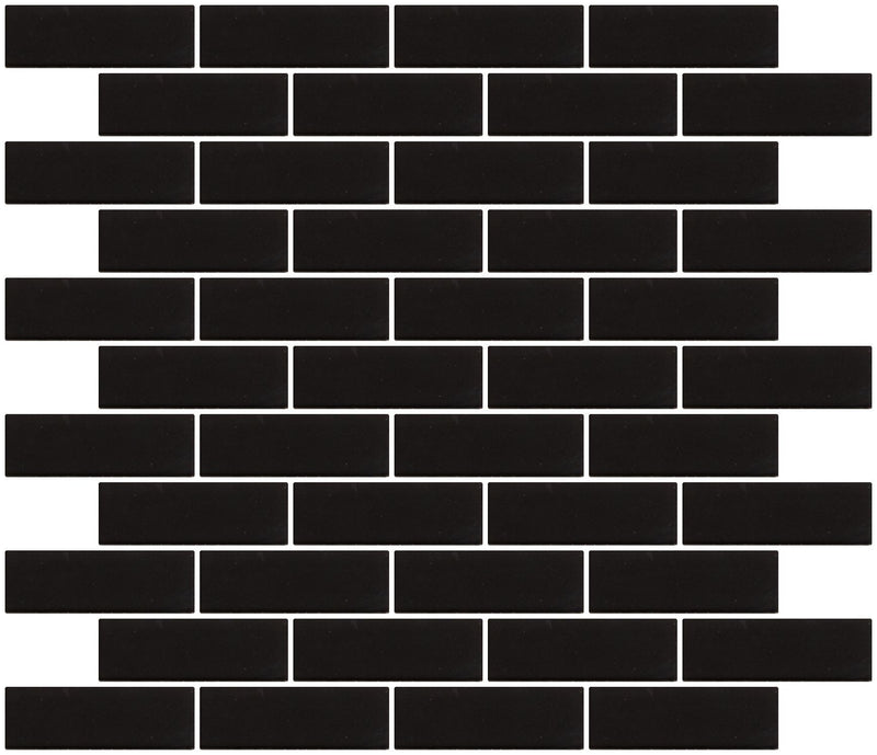 1x3 Inch Black Frosted Glass Subway Tile