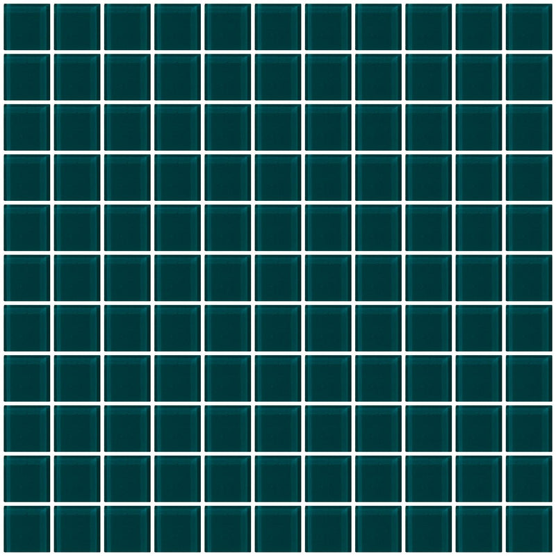 1 Inch Deep Teal Green Glass Tile