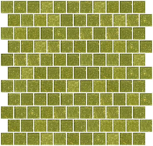 1 Inch Light Lime Green Glitter Glass Tile Offset