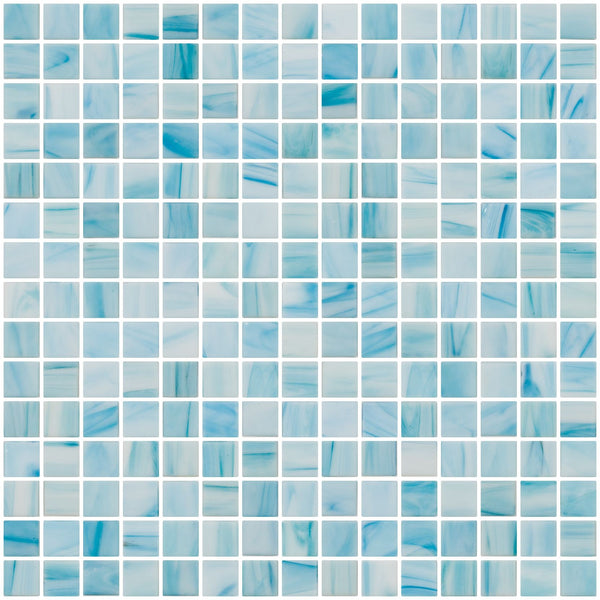 3/4 Inch Aqua Blue and White Marbled Glass Tile