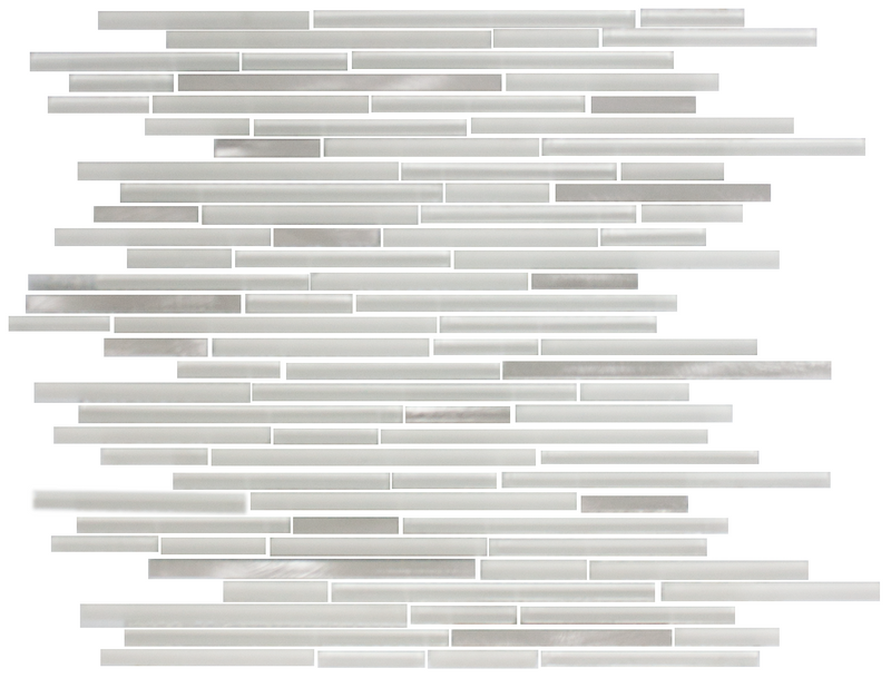 White Linear Glass Tile With Silver Metal Accents
