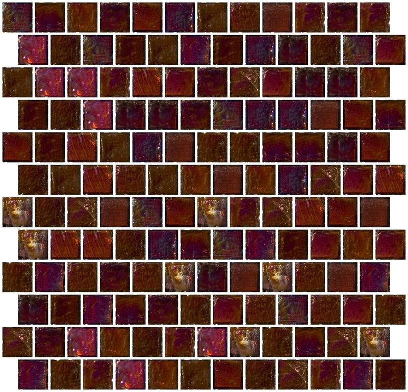 1 Inch Deep Brown Iridescent Glass Tile Reset In Offset Layout