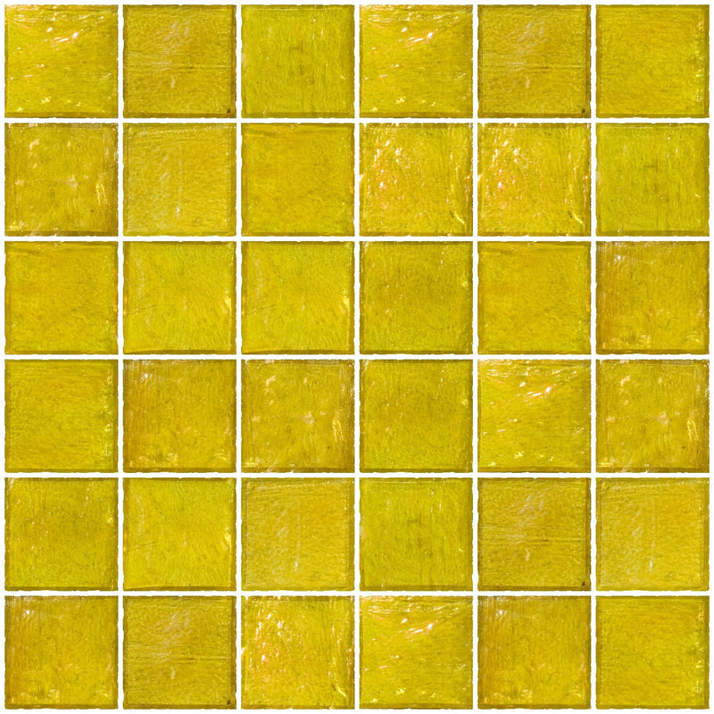 2x2 Inch Sunshine Yellow Iridescent Glass Tile