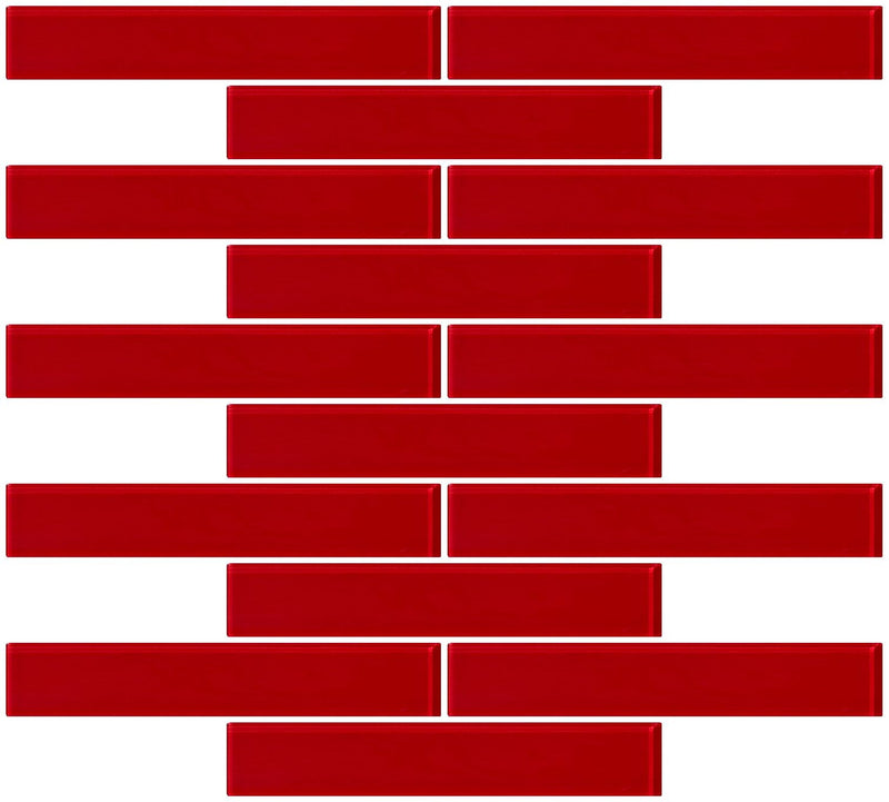 1x6 Inch Red Glass Subway Tile Reset In Running-brick Layout