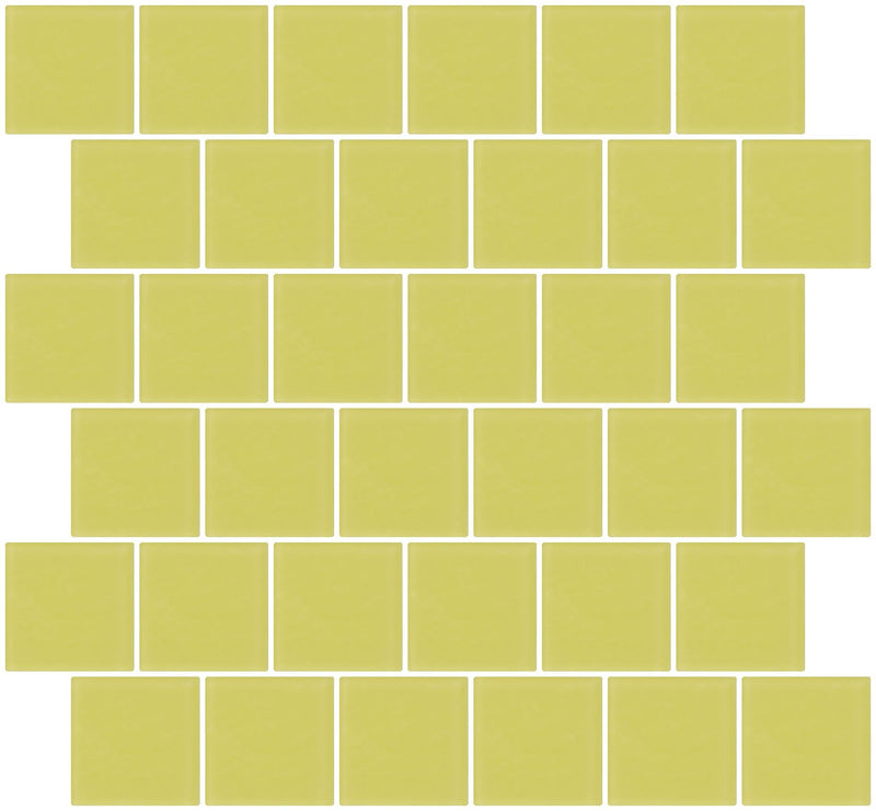 2x2 Inch Light Lime Green Frosted Glass Tile Reset In Offset Layout