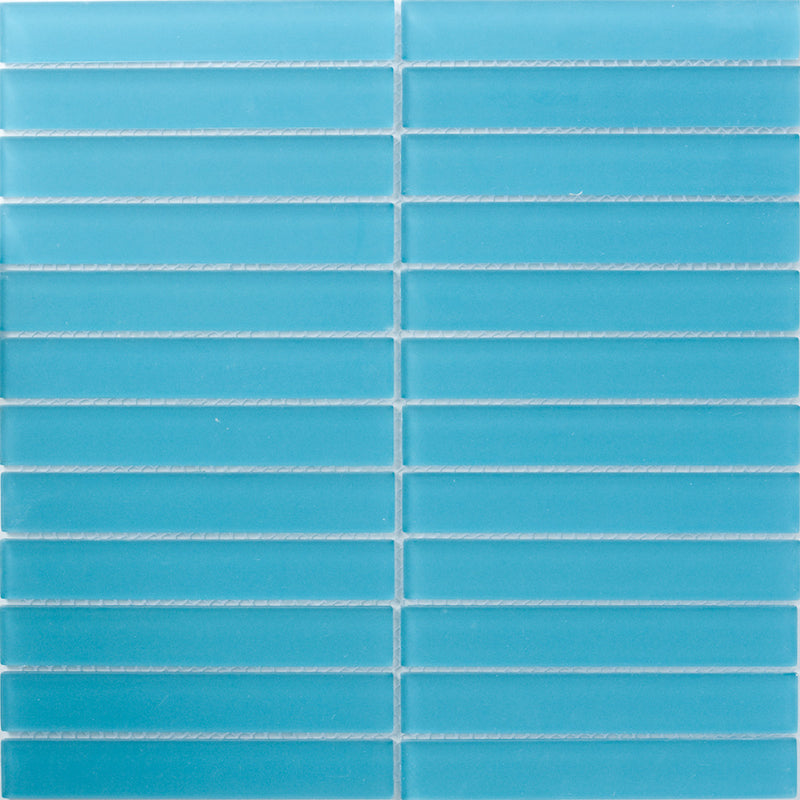 Sheet of 1x6 Inch Turquoise Frosted Glass Subway Tile