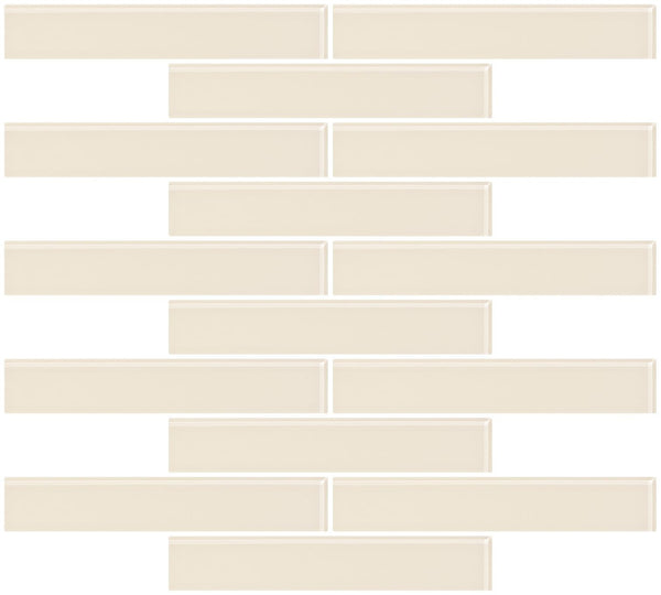 1x6 Inch Vanilla Bone White Glass Subway Tile Reset In Running-brick Layout