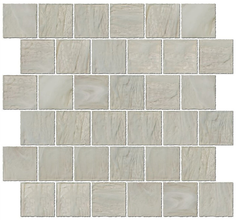 2x2 Inch Transparent Icy White Glass Tile Reset In Offset Layout