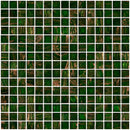 3/4 Inch Dark Christmas Green Gold Marbled Glass Tile