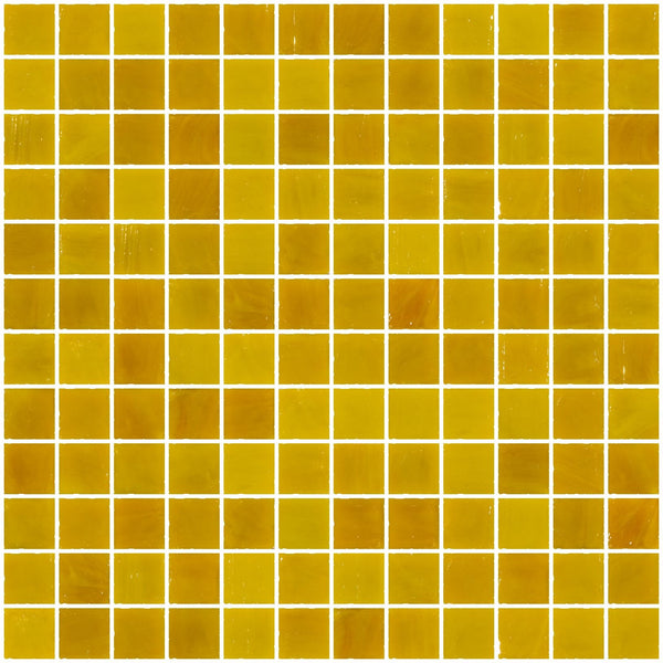 1 Inch Opaque Deep Sunshine Yellow Glass Tile