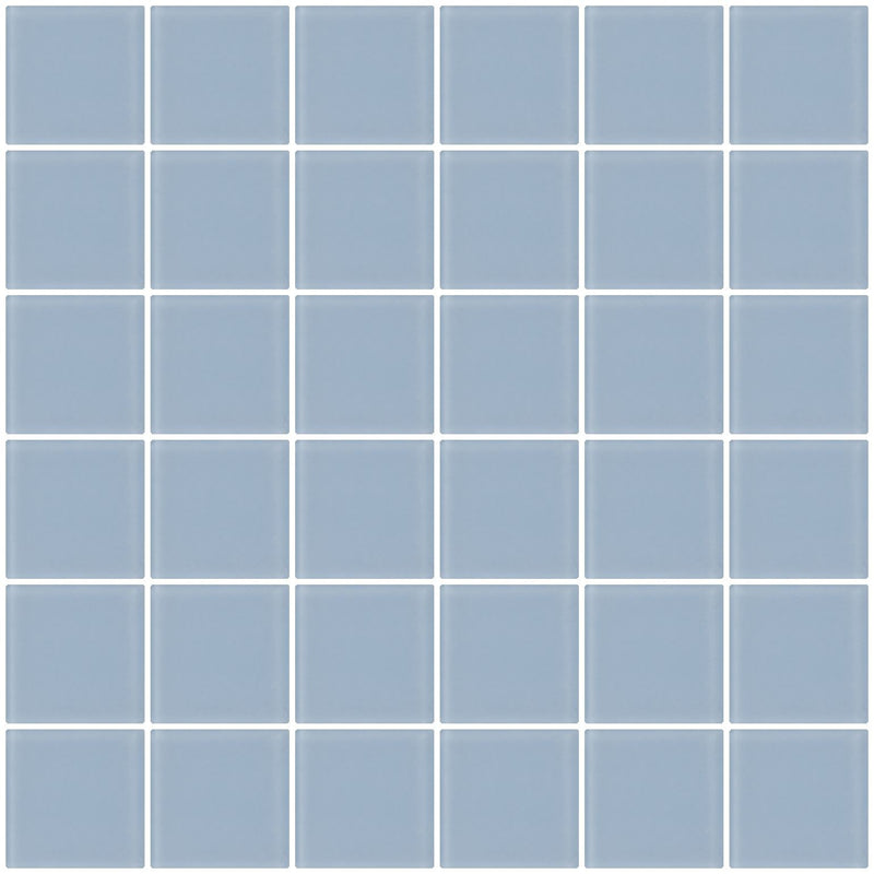 2x2 Inch Pale Sky Blue Frosted Glass Tile